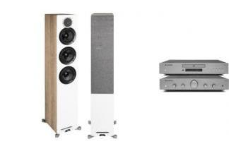 CAMBRIDGE AUDIO AXA25 + AXC25 + ELAC REFERENCE F5 dąb